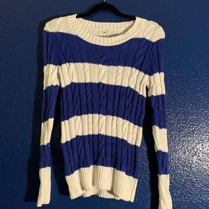 White and blue cable knit J Crew cotton sweater.